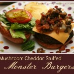 Mushroom and Cheddar Stuffed Monster Burgers