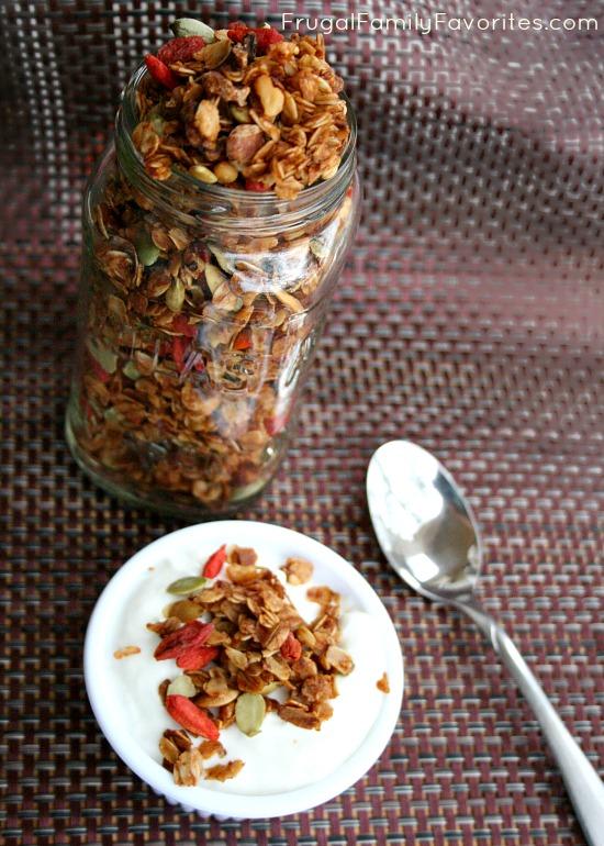 healthy homemade granola using goji berries, walnuts, and pumpkin seeds.